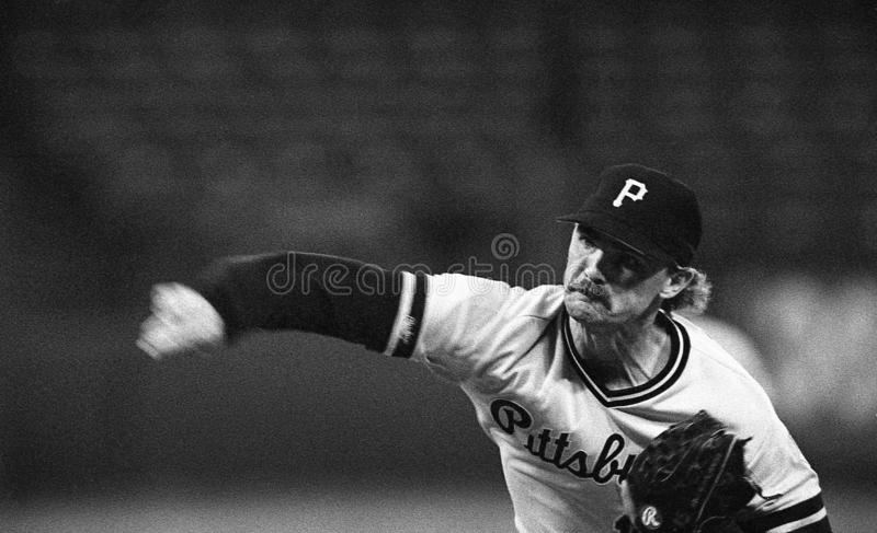 Doug Drabek. Pittsburgh Pirates ace Doug Drabek pitching against the San Francisco Giants. Image taken from a b&w negative royalty free stock images