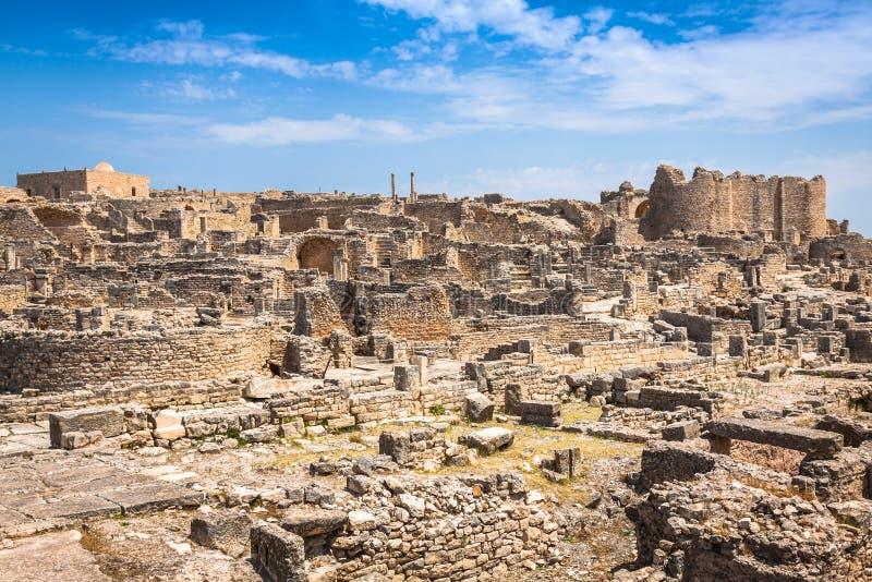Dougga, Roman Ruins: Eine UNESCO-Welterbestätte in Tunesien stockfoto