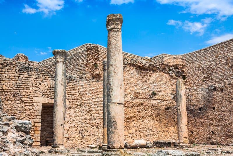 Dougga, rzymianin ruiny: Unesco światowego dziedzictwa miejsce w Tunezja obraz stock