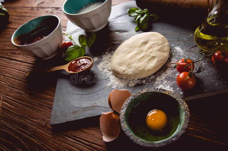 Download Dough With Flour On Wooden Table, Preparing Homemade Pizza Stock Image - Image: 83722963