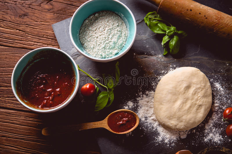 Download Dough With Flour On Wooden Table, Preparing Homemade Pizza Stock Photo - Image: 83723110