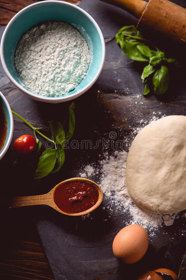 Download Dough With Flour On Wooden Table, Preparing Homemade Pizza Stock Photo - Image: 83723186