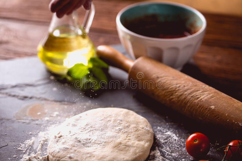 Download Dough With Flour On Wooden Table, Preparing Homemade Pizza Stock Photo - Image: 83724388