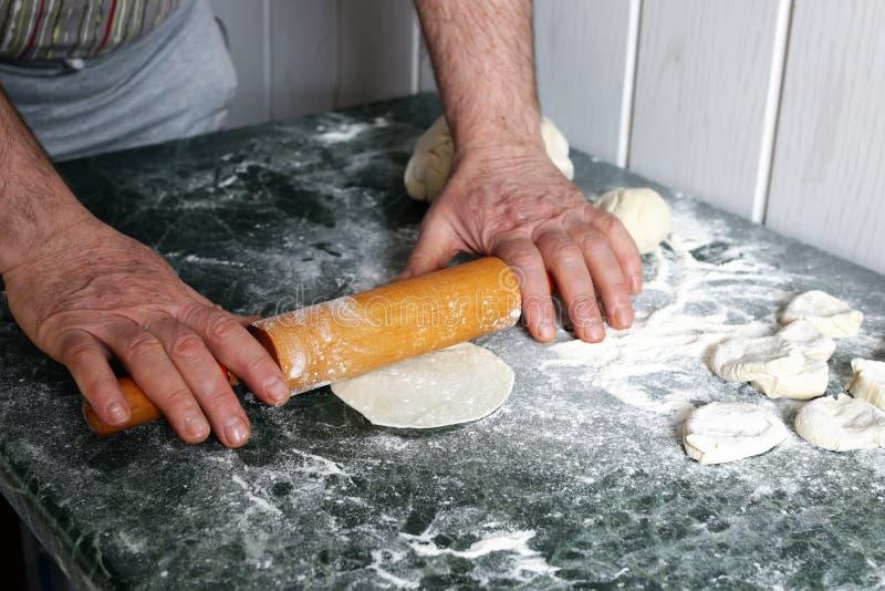 Dough knead flour stock image