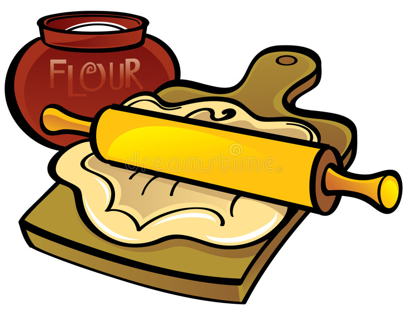 Dough With Rolling Pin Stock Image
