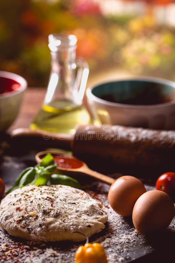 Download Dough With Spices Is Being Prepared To Bake Stock Image - Image of hand, basil: 83724743