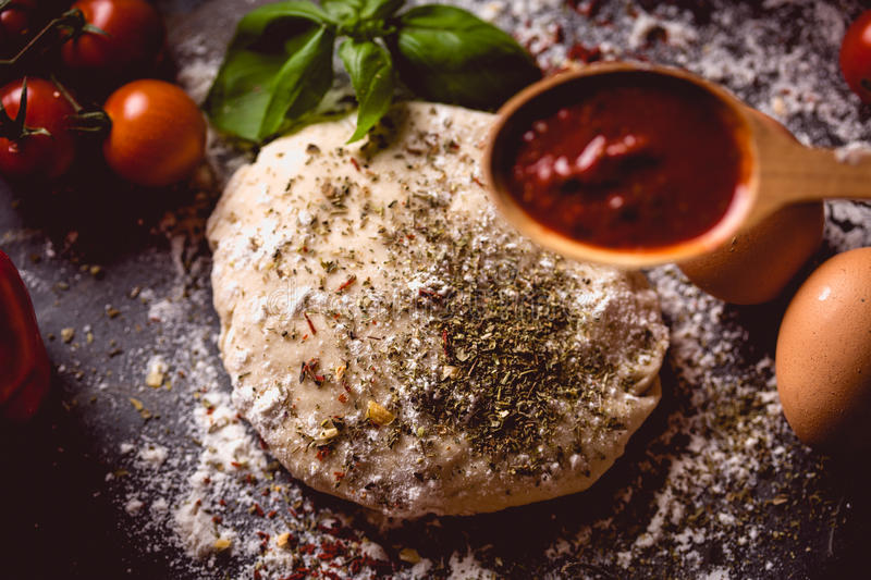 Download Dough With Spices Is Being Prepared To Bake Stock Photo - Image: 83724860