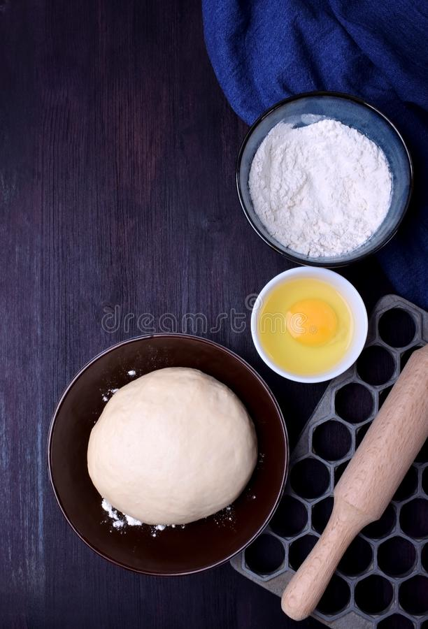 Dough and utensils for making dumplings royalty free stock photos