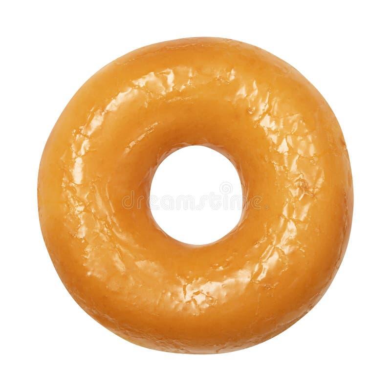 Doughnut με βερνικωμένος απομονωμένος στο άσπρο υπόβαθρο Ένα στρογγυλό στιλπνό κίτρινο doughnut λούστρου Μπροστινή όψη Τοπ όψη στοκ εικόνες με δικαίωμα ελεύθερης χρήσης