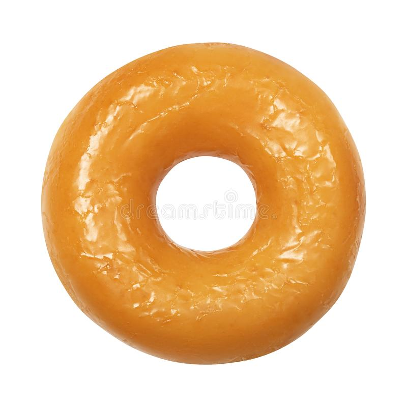 Doughnut με βερνικωμένος απομονωμένος στο άσπρο υπόβαθρο Ένα στρογγυλό στιλπνό κίτρινο doughnut λούστρου Μπροστινή όψη Τοπ όψη στοκ εικόνες