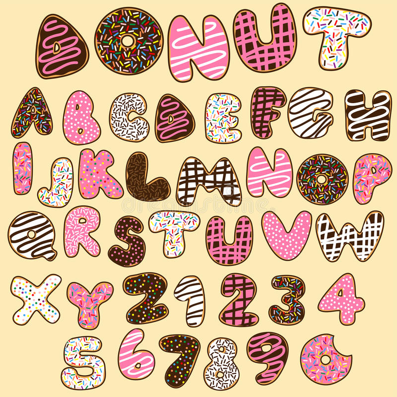 Doughnut αλφάβητα καθορισμένα, γλυκό κόμμα ελεύθερη απεικόνιση δικαιώματος