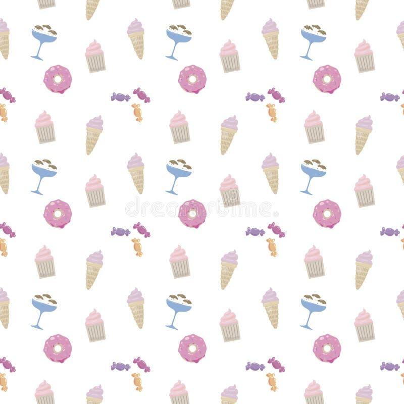 Doughnut γλυκών, παγωτό, cupcake, στιλπνός πολύχρωμος χαριτωμένος καραμελών στο άσπρο άνευ ραφής διανυσματικό σχέδιο υποβάθρου απεικόνιση αποθεμάτων