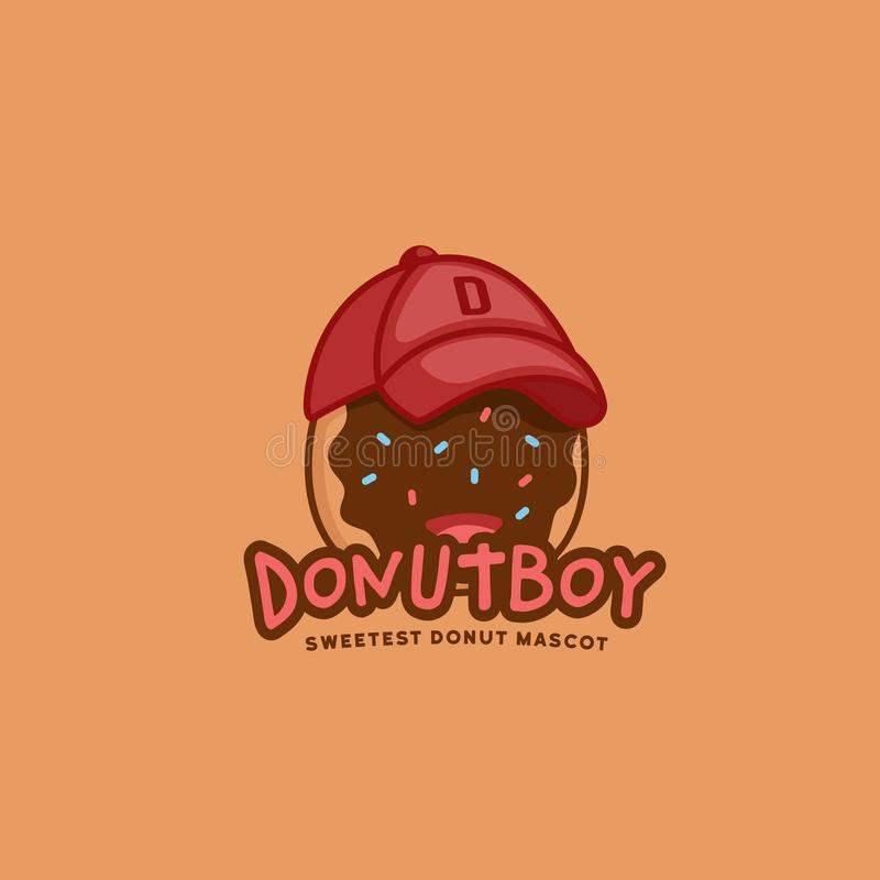 Doughnut doughnut δροσερό καπέλο του μπέιζμπολ ένδυσης μασκότ χαρακτήρα λογότυπων αγοριών στην απεικόνιση ύφους διασκέδασης παιχν διανυσματική απεικόνιση