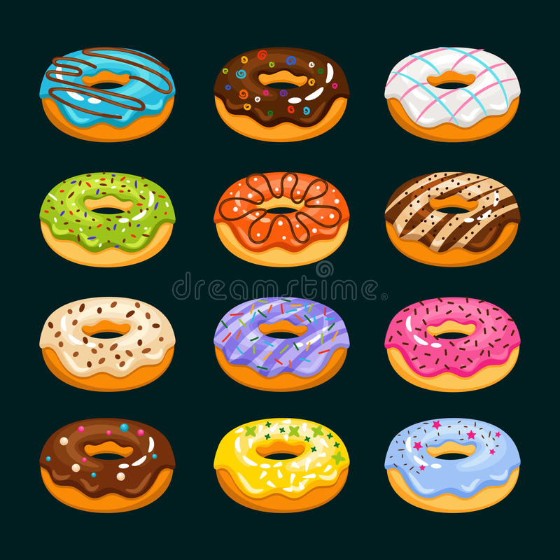Doughnut εικονίδια κινούμενων σχεδίων κέικ Διανυσματική απεικόνιση donuts σοκολάτας ανάμεικτη ελεύθερη απεικόνιση δικαιώματος