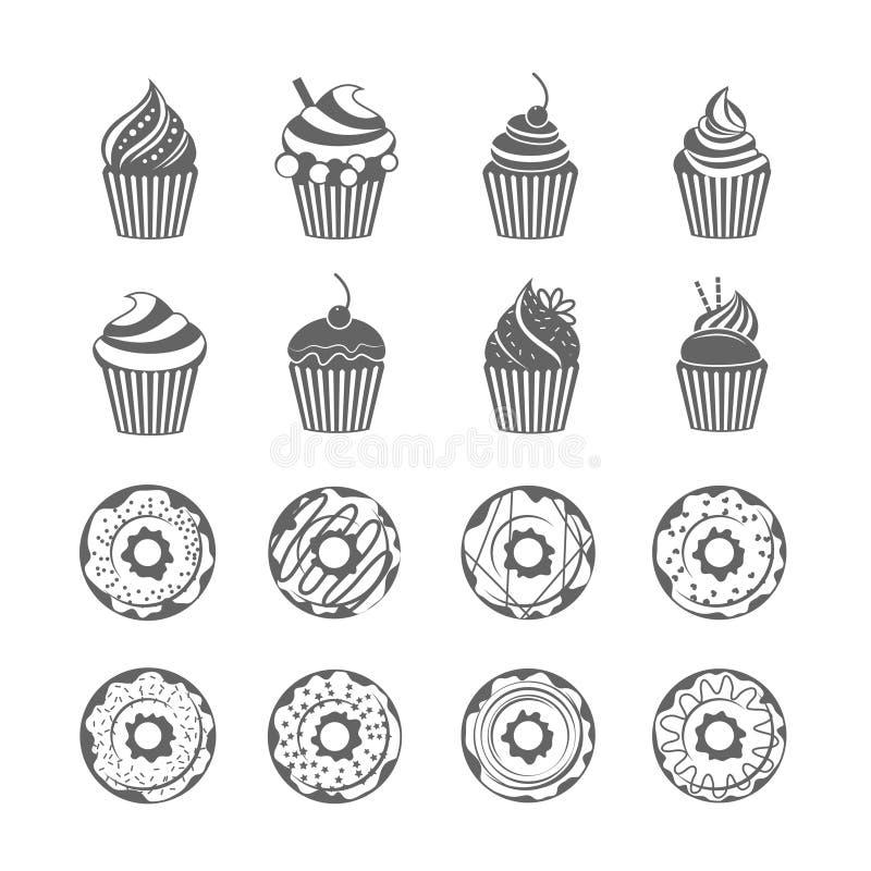 Doughnut εικονίδια Cupcake απεικόνιση αποθεμάτων