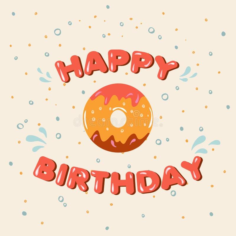 Doughnut ευχετήριων καρτών με την τήξη γενέθλια ευτυχή διανυσματική απεικόνιση