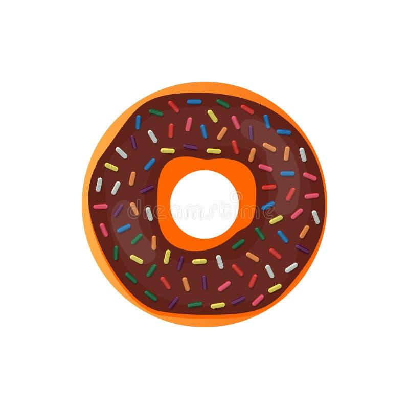 Doughnut εύγευστο με ψεκάζει απομονωμένος στο άσπρο υπόβαθρο Διανυσματικό doughnut εικονίδιο ελεύθερη απεικόνιση δικαιώματος