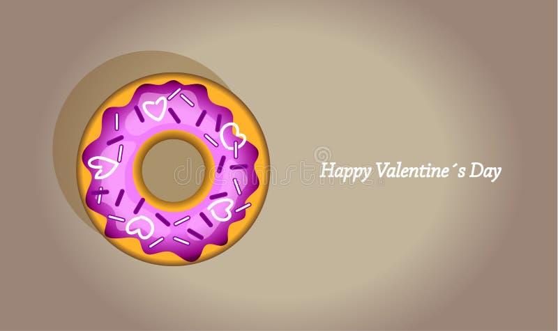 Doughnut ημέρας Valentineελεύθερη απεικόνιση δικαιώματος