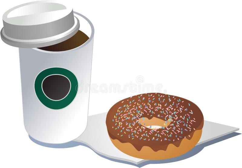 doughnut καφέ διανυσματική απεικόνιση