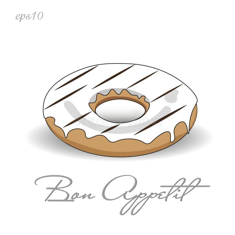 Doughnut με την άσπρη τήξη απεικόνιση αποθεμάτων