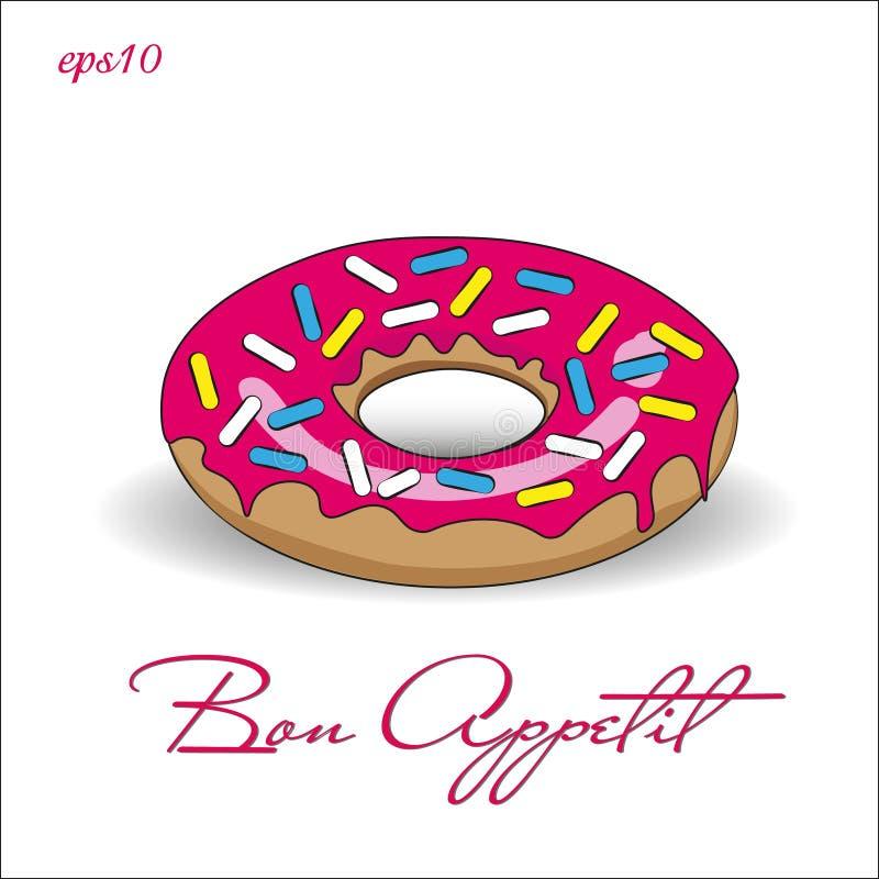 Doughnut με τη ρόδινη τήξη διανυσματική απεικόνιση
