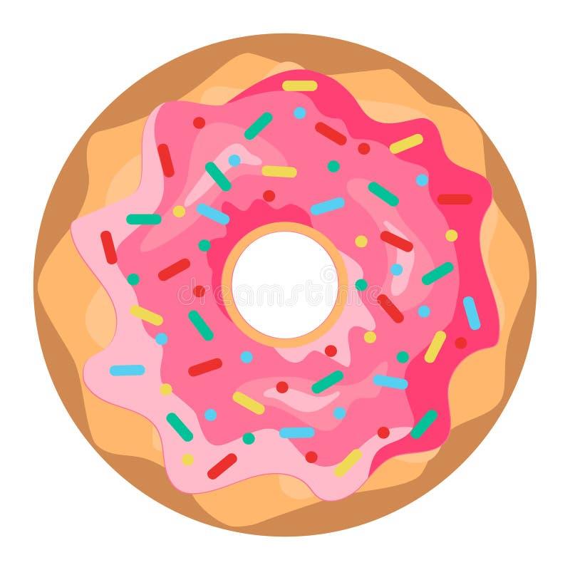 Doughnut με το ρόδινο λούστρο που απομονώνεται στο άσπρο υπόβαθρο ελεύθερη απεικόνιση δικαιώματος