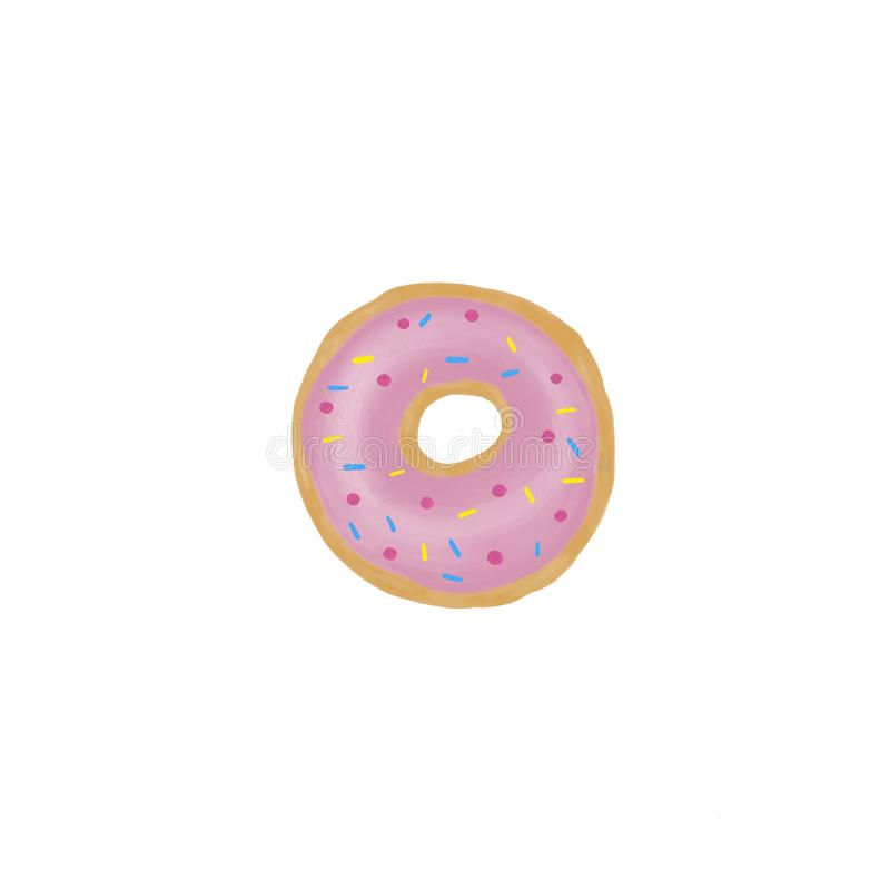 Doughnut με το ρόδινο λούστρο σε ένα άσπρο υπόβαθρο Στιλπνό doughnut με πολύχρωμο ψεκάζει απεικόνιση αποθεμάτων