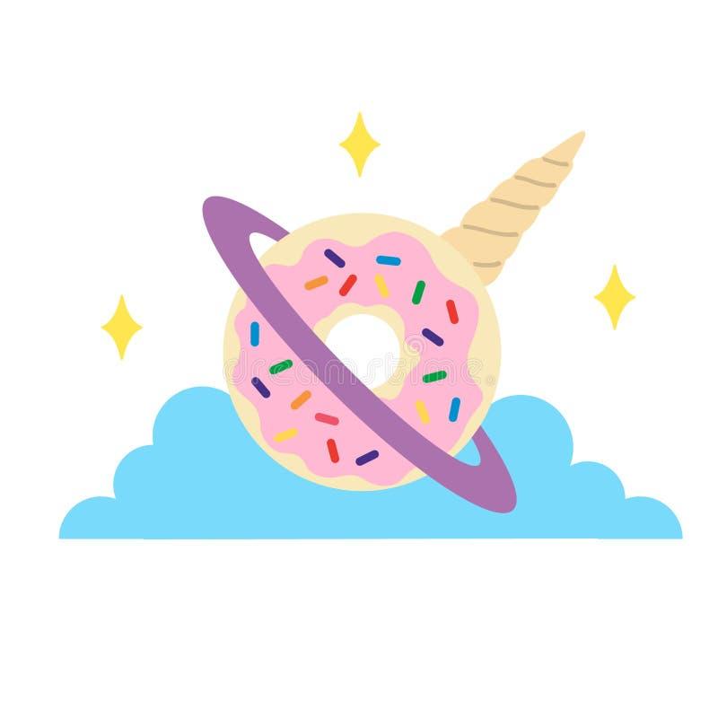 Doughnut μονοκέρων Unicorntopia χέρι πλανητών που σύρεται, διάνυσμα, Eps, λογότυπο, εικονίδιο, απεικόνιση σκιαγραφιών από τα craf ελεύθερη απεικόνιση δικαιώματος