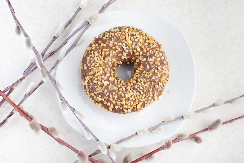 Doughnut σε ένα ελαφρύ υπόβαθρο στοκ φωτογραφίες