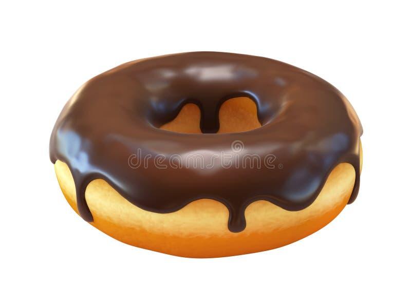 Doughnut σοκολάτας ή doughnut τρισδιάστατη απόδοση απεικόνιση αποθεμάτων