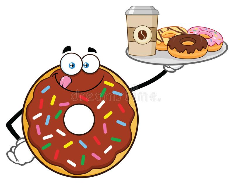 Doughnut σοκολάτας εξυπηρετώντας καφές και Donuts χαρακτήρα μασκότ κινούμενων σχεδίων ελεύθερη απεικόνιση δικαιώματος