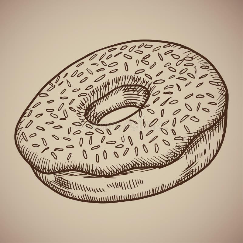 Doughnut σοκολάτας χάραξης Πολύ γλυκό και νόστιμο πρόχειρο φαγητό για τον καφέ Επιλογές χάραξης για το εστιατόριο επίσης corel σύ ελεύθερη απεικόνιση δικαιώματος