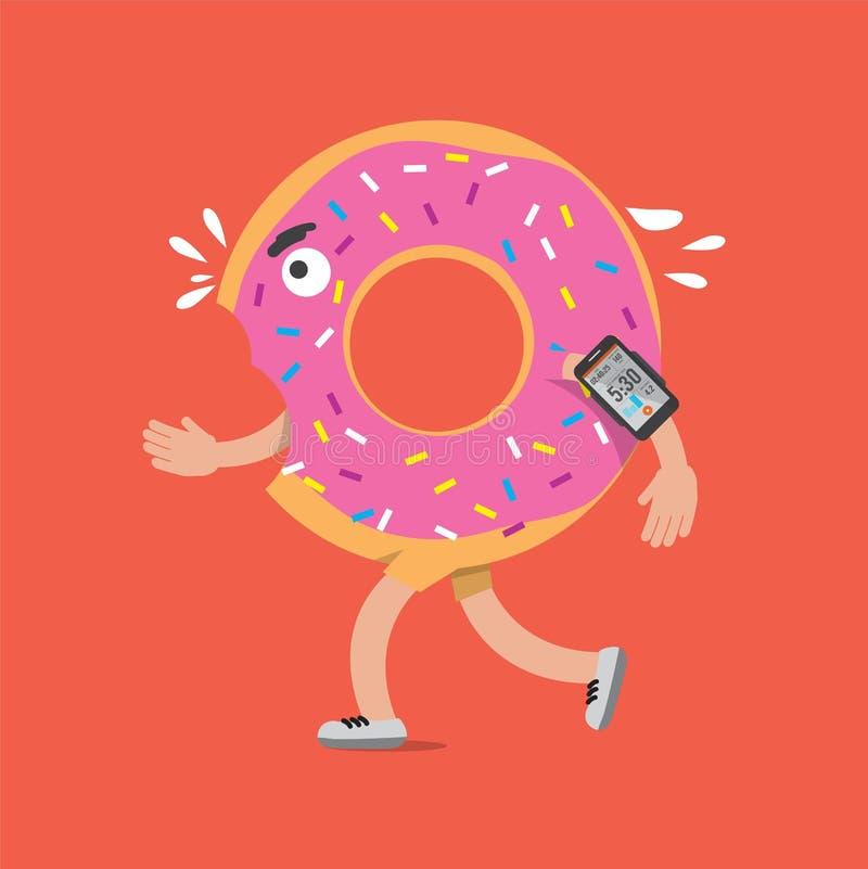 Doughnut στο τρέξιμο με το χαρακτήρα κινουμένων σχεδίων έννοιας υγείας Smartphone διανυσματική απεικόνιση