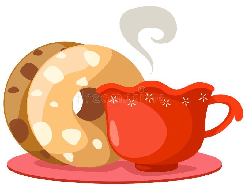 doughnut φλυτζανιών καφέ διανυσματική απεικόνιση