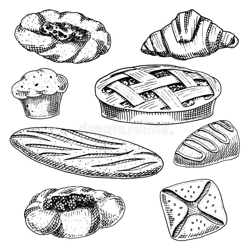 Doughnut ψωμιού και ζύμης, μακριές φραντζόλα και πίτα φρούτων cupcake και γλυκό κουλούρι ή croissant, muffin σοκολάτας χαραγμένο  απεικόνιση αποθεμάτων