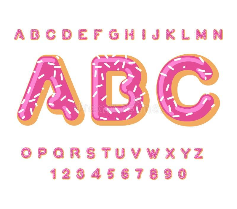 Doughnut ABC αλφάβητο πιτών Ψημένος στις επιστολές πετρελαίου πάγωμα και ψέκασμα Εδώδιμη τυπογραφία Εγγραφή τροφίμων Doughnut πηγ ελεύθερη απεικόνιση δικαιώματος