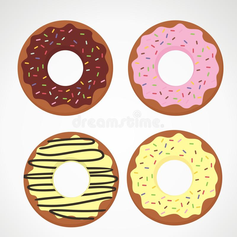 Doughnut Cartoon Illustration with Different Topping. Doughnut cartoon, doughnut vector design with differeng topping stock illustration