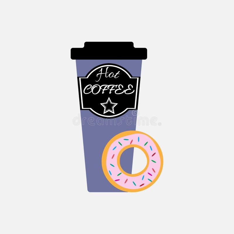 Γλυκοί doughnut και καφές r ελεύθερη απεικόνιση δικαιώματος