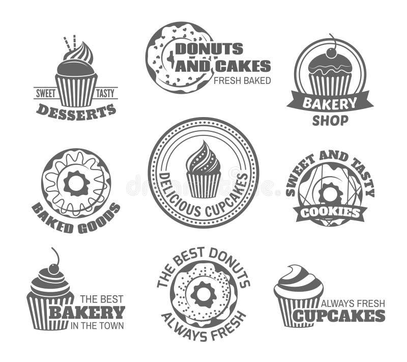 Doughnut cupcake ετικέτα ελεύθερη απεικόνιση δικαιώματος
