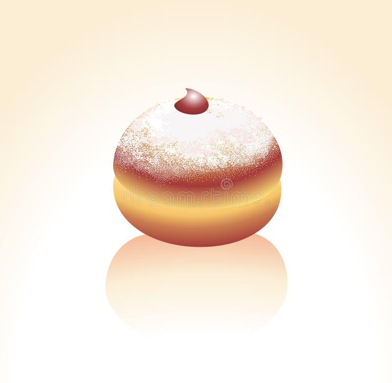 Doughnut, die met een suikerpoeder wordt bestrooid stock illustratie