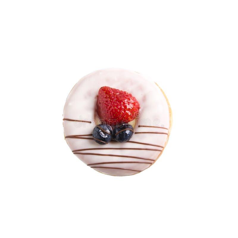 Doughnut die op achtergrond wordt geïsoleerdo stock afbeeldingen