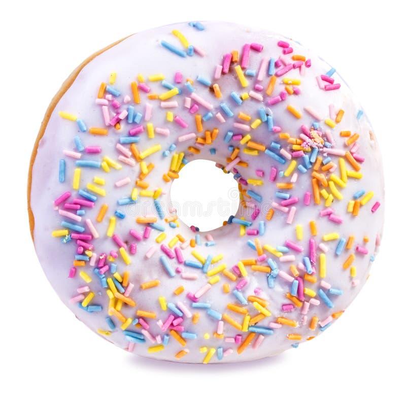 Doughnut die op wit wordt geïsoleerdg royalty-vrije stock foto