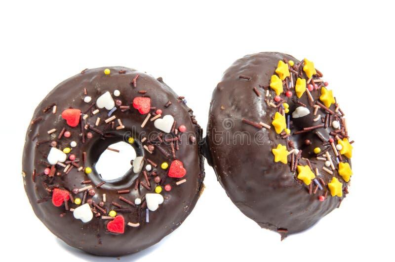 Doughnut of doughnut op wit stock foto's