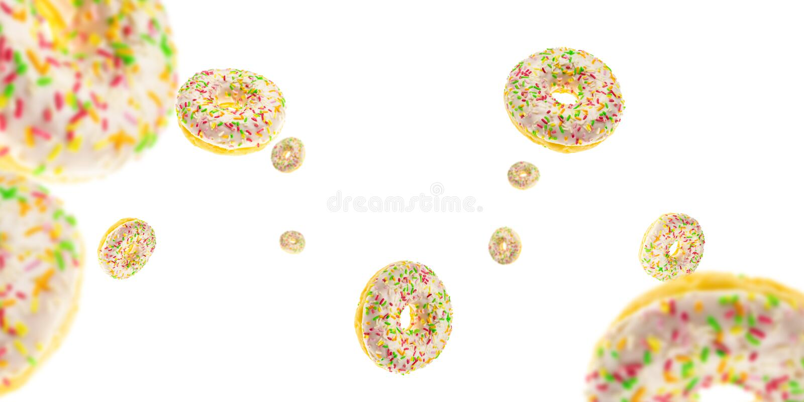 Doughnut with frosting. Glazed sweet doughnut falling on white background royalty free stock images