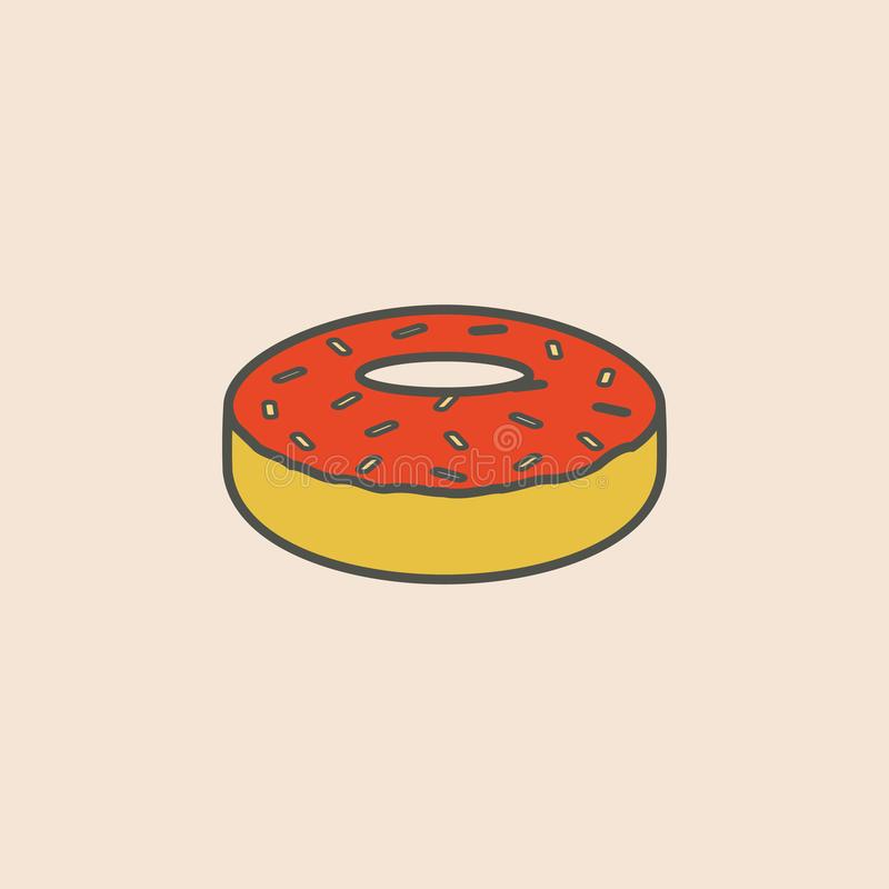 doughnut glaze line icon. Element of fast food icon for mobile concept and web apps. Field outline doughnut glaze line icon can be vector illustration