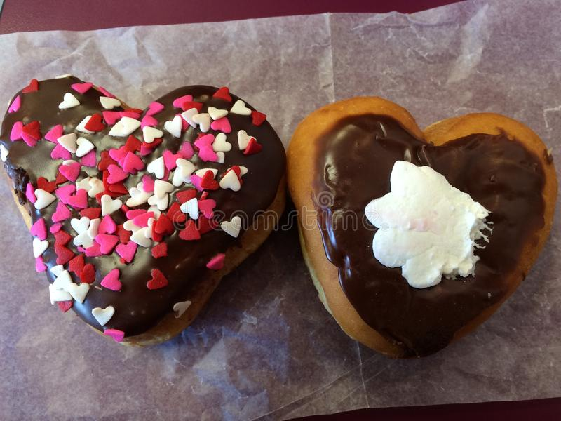 Doughnut hearts royalty free stock images