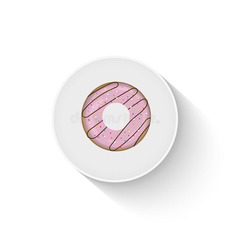 Doughnut icon. On a realistic plate vector illustration