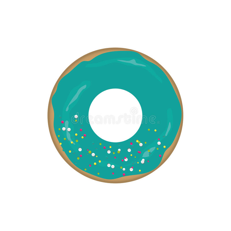Doughnut icon. On a realistic plate royalty free illustration