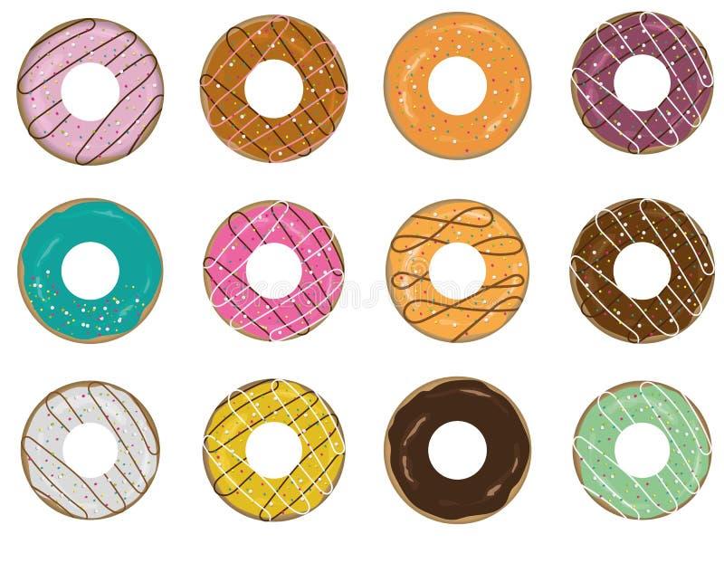 Doughnut icon set. On white background royalty free illustration