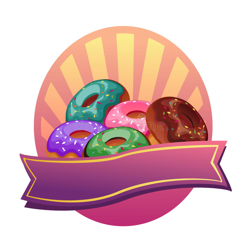 Doughnut label. Mixed colorful doughnut label, vector file in eps 10 vector illustration